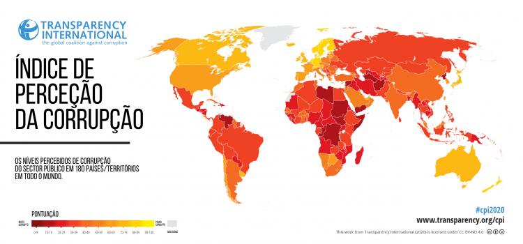 Portugal desce três lugares no Índice de Perceção da Corrupção 2020, registando a pontuação mais baixa desde 2012